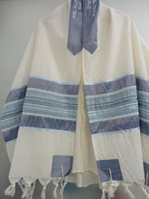 Load image into Gallery viewer, blue and silver tallit, bar mitzvah tallit set, modern tallit, custom tallit from Israel by Galilee Silks