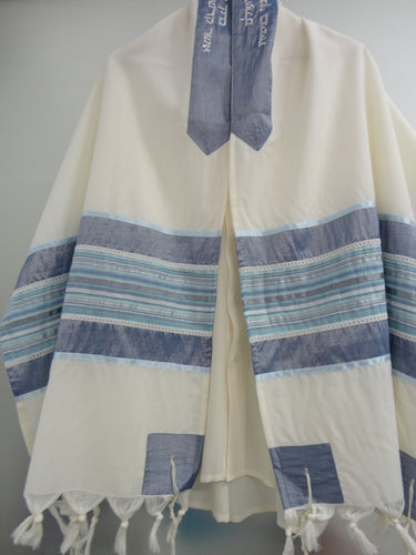 blue and silver tallit, bar mitzvah tallit set, modern tallit, custom tallit from Israel by Galilee Silks