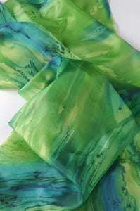Delicate Greens Blend Hand Painted Silk Scarf, Head Wrap
