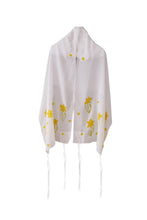 Load image into Gallery viewer, The Daffodils Hand Painted Silk Tallit for Women, Bat Mitzvah Tallit, Women's Tallit Prayer Shawl, Tallit for Girl, bat mitzvah tallis