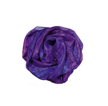 Load image into Gallery viewer, Hand Painted Abstarct Purple Shades Blend Silk Scarf, Head cover, Silk Sarong, Neckerchief