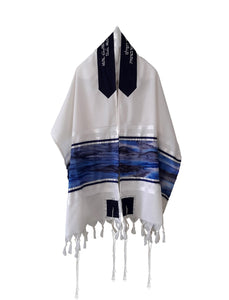 Moon Surface & Sea Hand Painted Silk on Wool Tallit front, Bar Mitzva Tallit, Tzitzit