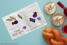 Load image into Gallery viewer, Silk Pomegranates, Grapes and Oat Hand Painted Appliques Challah Cover
