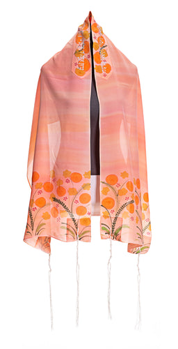 Peach Silk Tallit for Woman, Bat Mitzvah Tallit