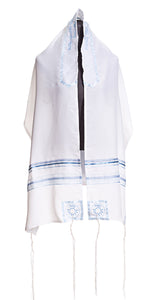 Four Mothers Tallit in Blue - feminine tallit, Bat Mitzvah Tallit - Galilee Silks
