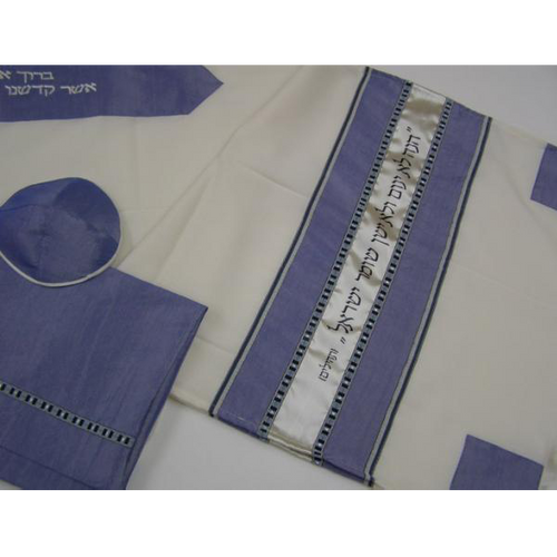 Slate Wool Tallit With Biblical Verse