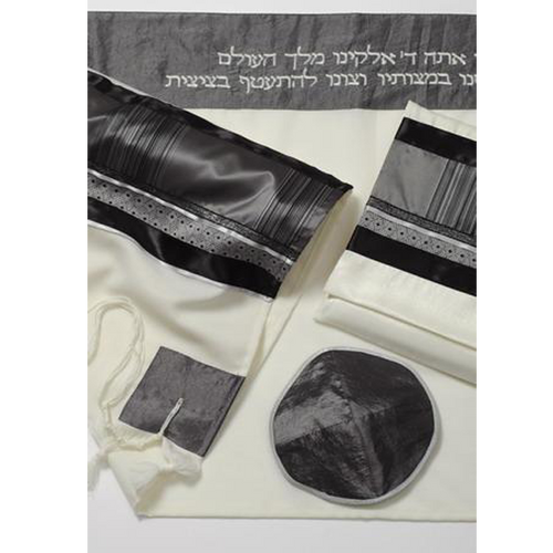Grey & Black Tallit for men, Bar Mitzvah Tallit Set, Modern tallit