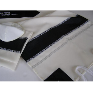 Black and White prayer shawl Tallit, Bar Mitzvah Tallit
