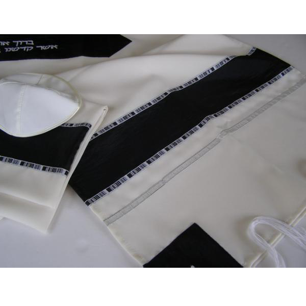 Black and White prayer shawl Tallit, Bar Mitzvah Tallit Set, modern tallit from Israel, custom tallit by Galilee Silks