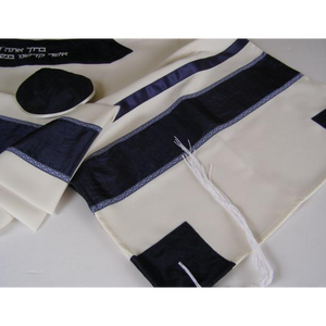 Blue and White Bar Mitzvah Tallit Set, vegan tallit, modern tallit, custom tallit from Israel by Galilee Silks