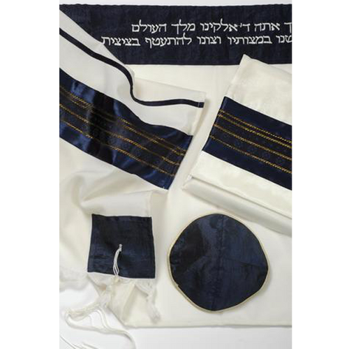 Royal Blue Talit for Men, Blue Tallit, Wool Tallit, Bar Mitzvah Tallit Set, Hebrew prayer Shawl