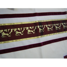 Load image into Gallery viewer, Unique Dark Red Pomegranate Tallit for men part