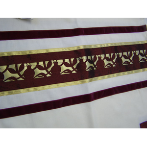 Unique Dark Red Pomegranate Tallit for men part