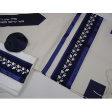 Load image into Gallery viewer, White and Blue Pomegrante Tallit