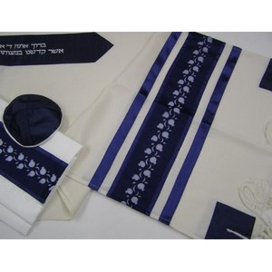 Blue Pomegranates Wool Tallit for men, bar mitzvah tallit set, modern tallit by galilee silks