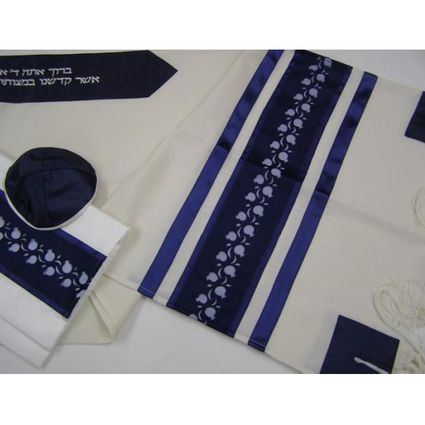 LIGHT BLUE POMEGRANTE WOOL TALLIT