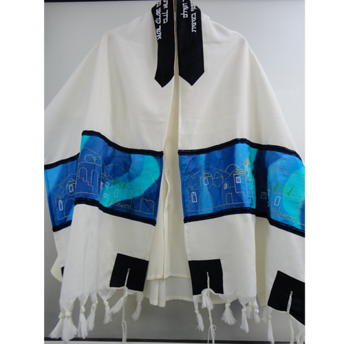 Jerusalem Tallit, Wool Tallit, Blue Silk Bar Mitzvah Tallit Set, Wedding Tallit, Hebrew Prayer Shawl