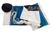 Load image into Gallery viewer, Wool tallit set with Jerusalem landscape embroidered in Silver on Silk by Galilee SilksWool tallit with Silver embroidered Jerusalem landscape by Galilee Silks Israel