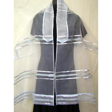 Load image into Gallery viewer, Light Blue Stripes Organza Tallit for girl