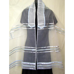 Light Blue Stripes Organza Tallit for girl