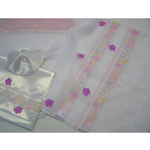 Load image into Gallery viewer, Galilee Silks Pink Flowered Tallit for girl Jewish Congregation
