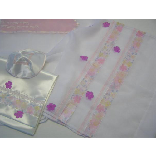Galilee Silks Pink Flowered Tallit for girl Jewish Congregation