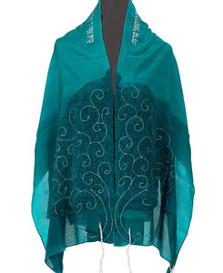 Tree of life Green womens tallit by Galilee Silks Israel