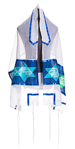 Blue Stars of David Tallit (H8), Bat Mitzvah Tallit, Girls tallit, Silk tallit by Galiee Silks