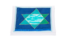 Load image into Gallery viewer, Green and Blue Stars of David Tallit for Women, Bat Mitzvah Tallit, Girl's Tallit