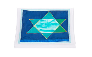 Green and Blue Stars of David Tallit for Women, Bat Mitzvah Tallit, Girl's Tallit