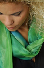 Load image into Gallery viewer, Delicate Greens Blend Hand Painted Silk Scarf, Head Wrap CU
