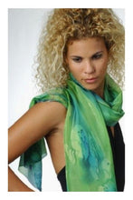 Load image into Gallery viewer, Delicate Greens Blend Hand Painted Silk Scarf, Head Wrap model