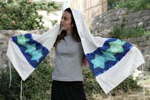 Load image into Gallery viewer, Green Stars of David Tallit for Women by Galilee Silks Israel