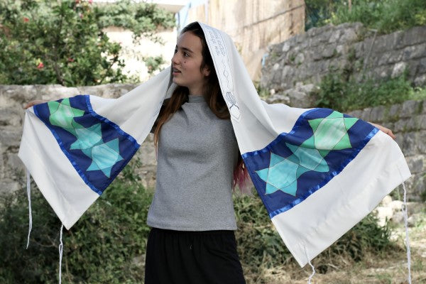 Green Stars of David Tallit for Women by Galilee Silks Israel