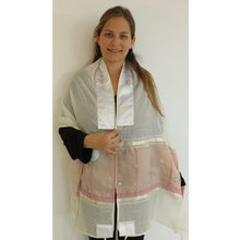Load image into Gallery viewer, Pink And Grey Tallit for girl