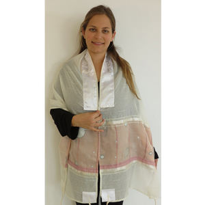 Pink And Grey Tallit for girl