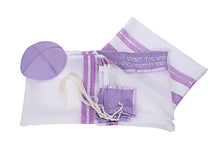 Load image into Gallery viewer, Lilac Paisley Tallit for women, Bat Mitzvah Tallit set, girls tallit, silk tallit, womens tallit, lilac tallit, purple tallit