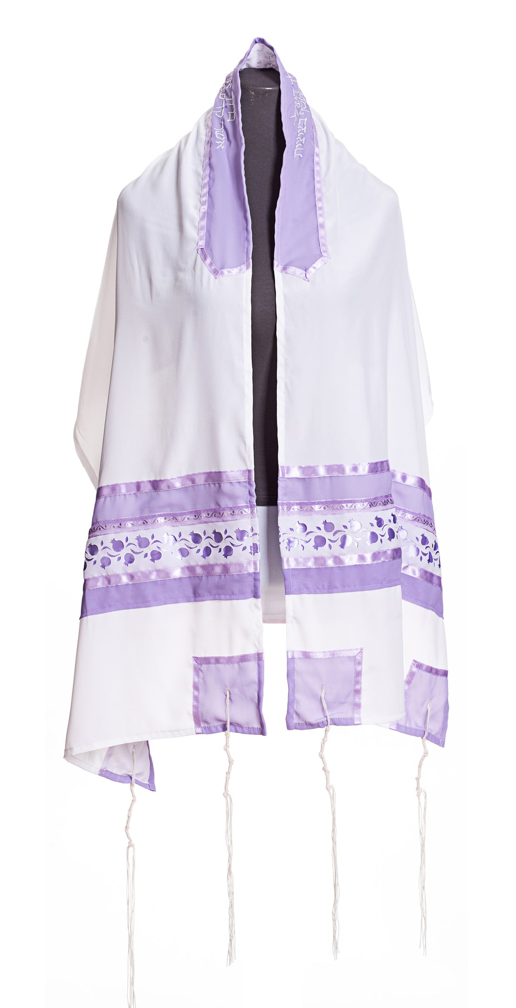 Lilac Pomegranates Tallit for women, Bat Mitzvah Tallit, Silk Tallit, Girls Tallit by Galilee Silks