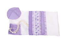 Load image into Gallery viewer, Lilac Pomegranates Tallit for women, Bat Mitzvah Tallit, Silk Tallit, Girls Tallit set flat by Galilee Silks