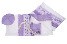Load image into Gallery viewer, Lilac Pomegranates Tallit for women, Purple tallit, Bat Mitzvah Tallit, Silk Tallit, Girls Tallit by Galilee Silks