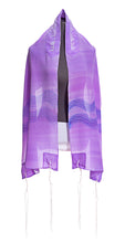 Load image into Gallery viewer, Purple Tallit With Wave Decoration, Bat Mitzvah Tallit, Silk Tallit, girls tallit, womens talit by Galilee Silks