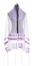 Load image into Gallery viewer, Lilac Paisley Tallit for women, Bat Mitzvah Tallit, girls tallit, silk tallit, womens tallit, lilac tallit, purple tallit