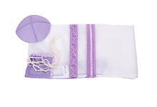 Load image into Gallery viewer, Lilac Paisley Tallit for women, Bat Mitzvah Tallit, girls tallit, silk tallit bag, womens tallit, lilac tallit, purple tallit