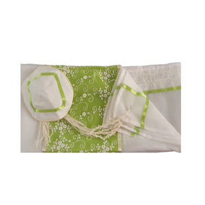 Meadow White Flowers Tallit for women, Bat Mitzvah Tallit, Girl's Tallit, Women's Tallit flat