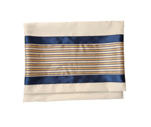 Load image into Gallery viewer, Moca Gold and Royal Blue Design Bar Mitzvah Tallit bag, Wool Tallit