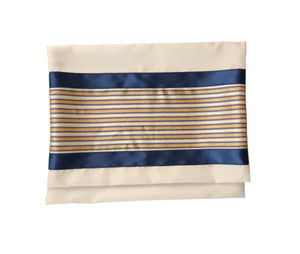 Moca Gold and Royal Blue Design Bar Mitzvah Tallit bag, Wool Tallit