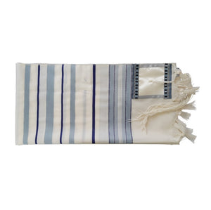 Peace Tallit for men, Bar Mitzvah tallit, wedding tallit, wool tallit from Israel, custom tallit by Galilee Silks flat