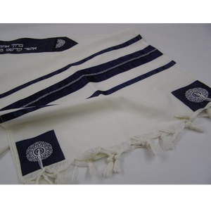 Blue Oriental Wool Tallit for men, modern tallit, bar mitzvah tallit set, custom tallit from Israel