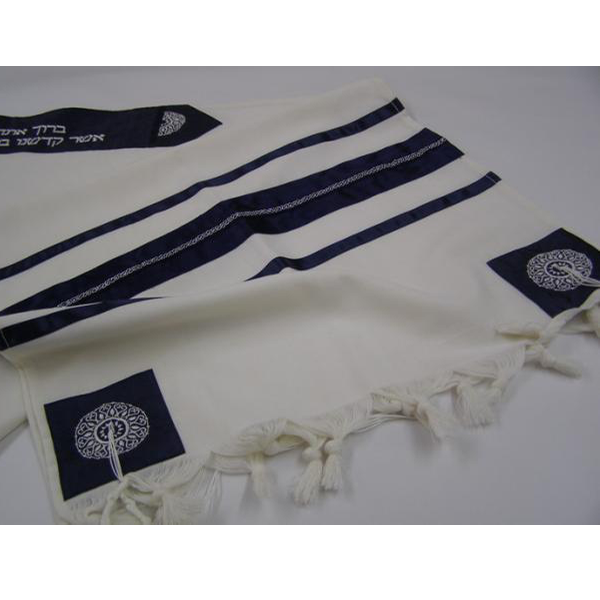 Blue Oriental Wool Tallit for men