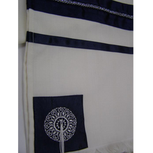 Load image into Gallery viewer, Blue Oriental Wool Tallit for men, contemporary tallit, bar mitzvah tallit, custom tallit from Israel by Galilee Silks
